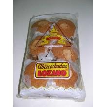Madalenas bizcocho Lozano caja de 6 paquetes de 12 unidades.