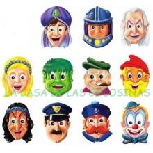 Cardboard masks Characters 24u.