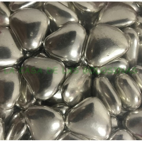 Silver colored heart studs stuffed with chocolate bag 1Kg.