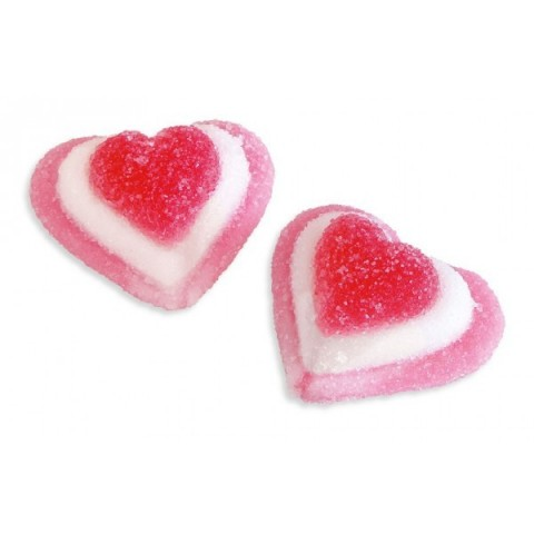Tricolor Fini jelly beans hearts with sugar 1 kg.