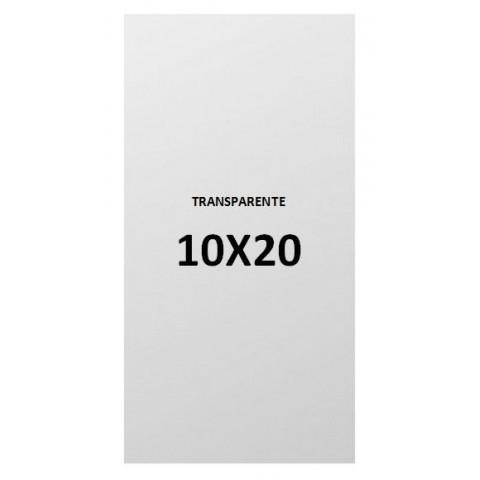 10x20 transparent plastic bags.