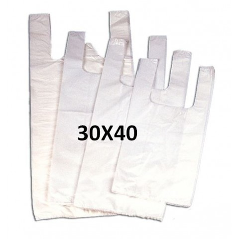 White plastic bags with handles 30x40.