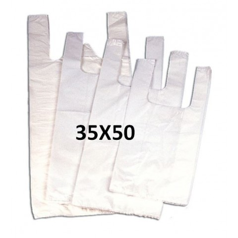 White plastic bags with handles 35x50.