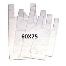 Bolsas de plástico blancas con asas 60x75.