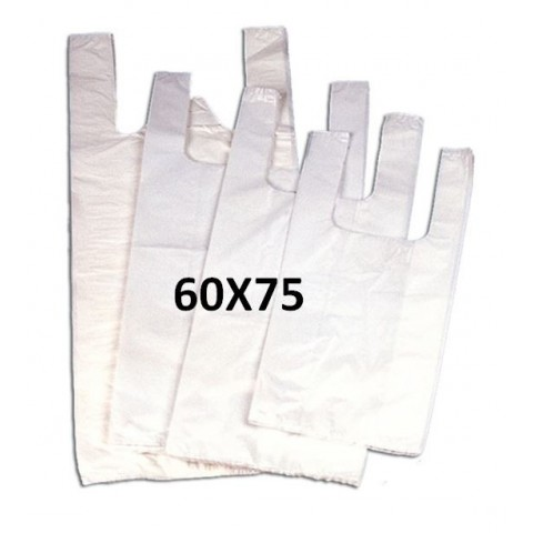 White plastic bags with handles 60x75.