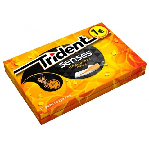 Trident senses gum tropical mix flavour 12 boxes.