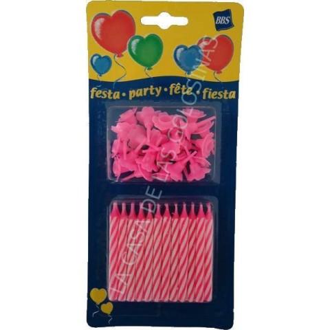Velas de cumpleaños con soporte 24 unidades color rosa.