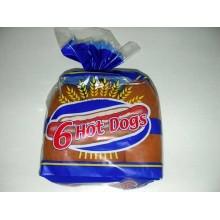 Pan de perrito caliente caja con 6 bolsas de 6 unidades.