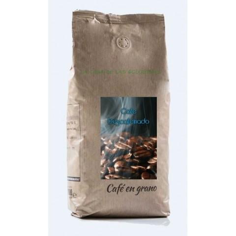 Café en grano crema descafeinado natural 100% 1kg.