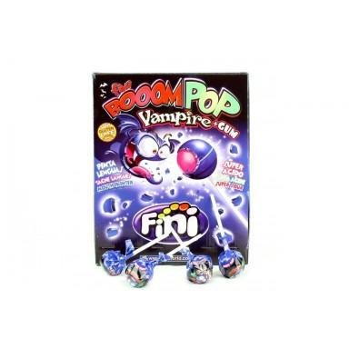 Fini boom Vampire chicle súper ácido relleno y pintalenguas con palo 100 unidades.