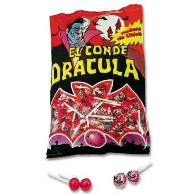 Caramelo con palo Dracula relleno de chicle 200 unidades.