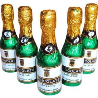 Botellas pequeñas champán chocolate 60 unidades.