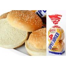 Pan de Hamburguesa grande caja de 6 bolsas con 4 bollos.