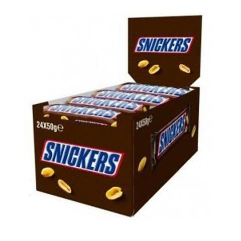 Snickers de chocolate y cacahuetes 24 unidades.