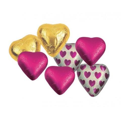 Corazones de chocolate envueltos de colores surtidos Sorini 1Kg 140u. aprox.