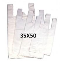 Bolsas de plástico blancas con asas 35x50.