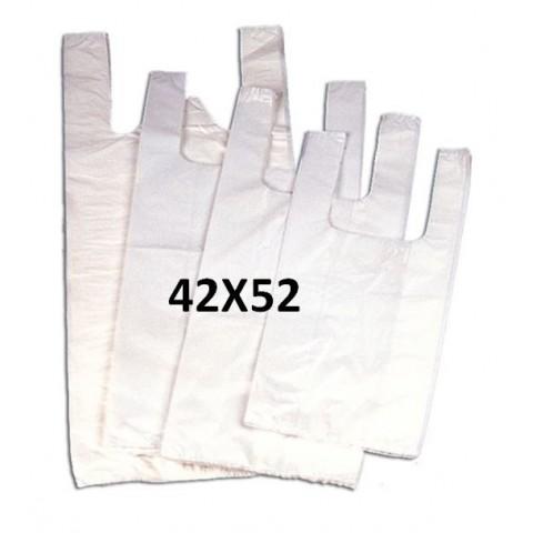 Bolsas de plástico blancas con asas 42x52.