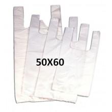 Bolsas de plástico blancas con asas 50x60.