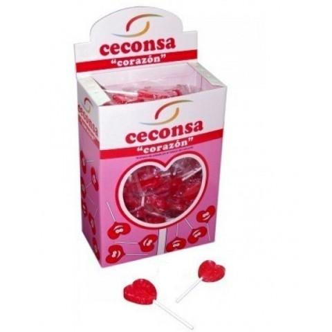 """Piruletas ceconsa con forma de corazon """"oro"""" 110 unidades."""