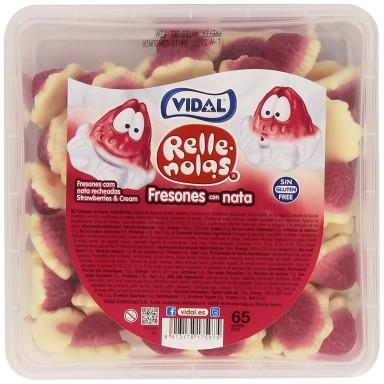 Rellenolas Fresas rellenas con nata de Vidal 65 unidades.