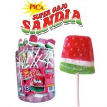 Super Gajo Sandia pica 3D caramelo con palo BOTE 100u.