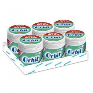 Chicles Orbit box eucalipto 6 botes con 70 grageas.