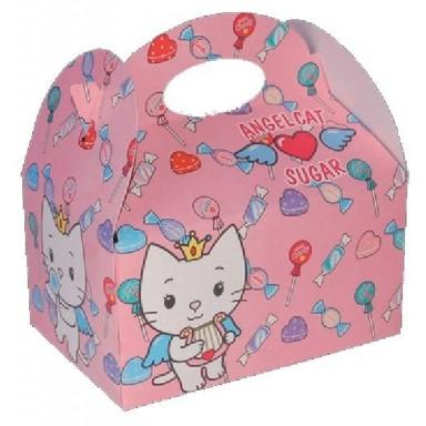Cajita Cartón para celebraciones Angel Cat 1u.