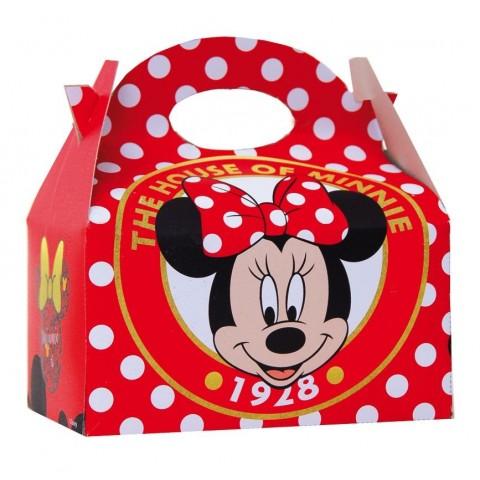 Cajita Cartón para celebraciones Minnie Lunares 1u.