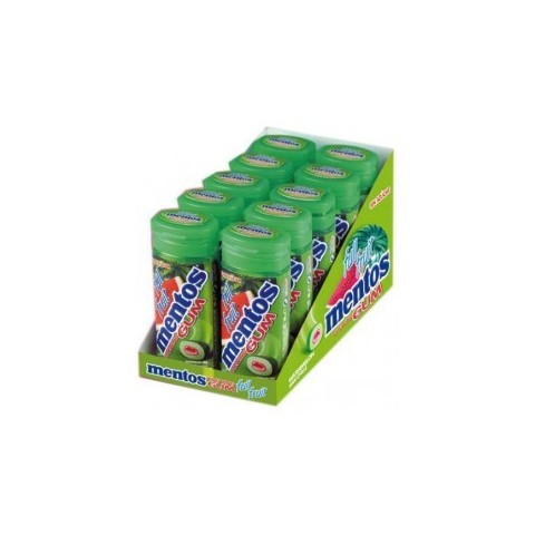 Chicles Mentos Gum sabor Sandia caja con 10 botes.