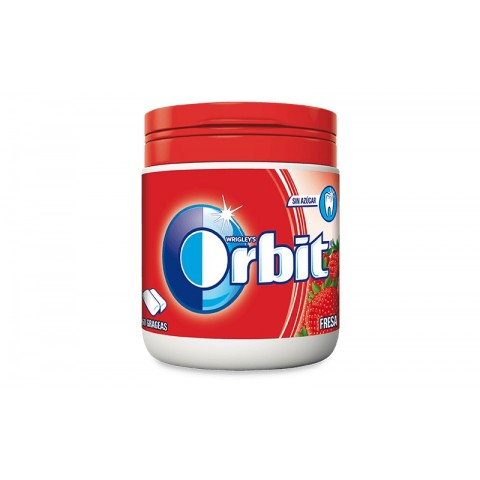Chicles Orbit box fresa acida 6 botes con 60 grageas.