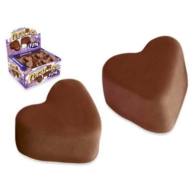 Corazones Marshmallow cubiertos de chocolate con leche Fini 75u.