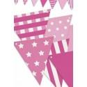 Banderín Triangular Rosa y blanco 4m.