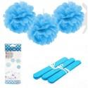 Pompones Azules 20cm 3u.