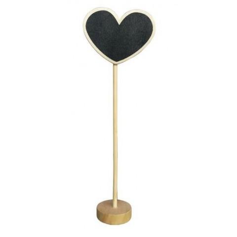 Pizarra Corazón de madera con pie