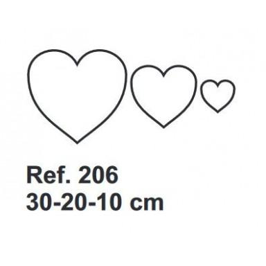Set de Corcho Corazones 30-20-10cm