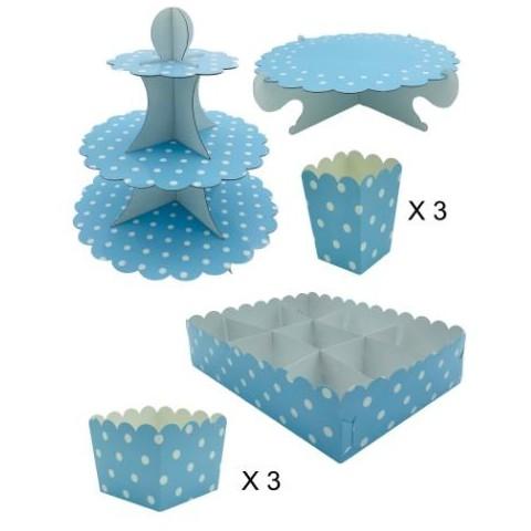 Kit completo Candy Bar Azul con Lunares