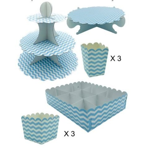 Kit completo Candy Bar Azul con Rayas