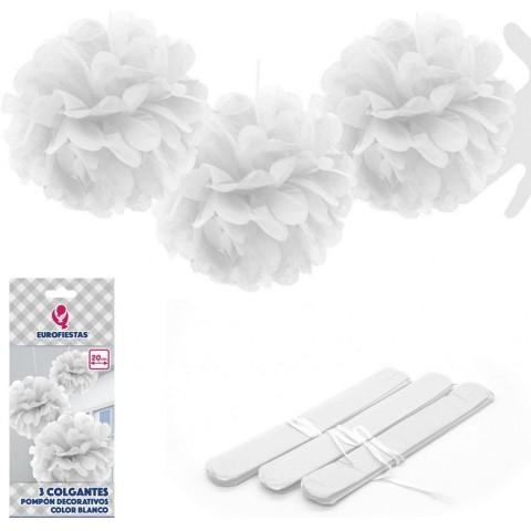 Pompones Blancos 20cm 3u.