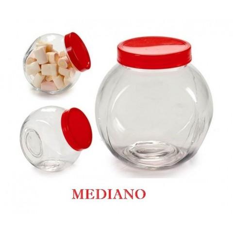 Tarro de cristal con tapa roja