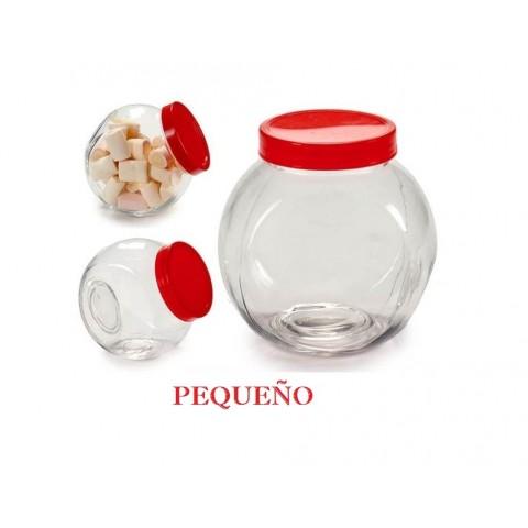 Tarro pequeño de cristal con tapa roja inclinado