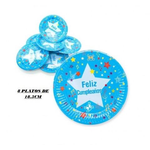 Platos Feliz cumpleaños azul pequeño 8u.