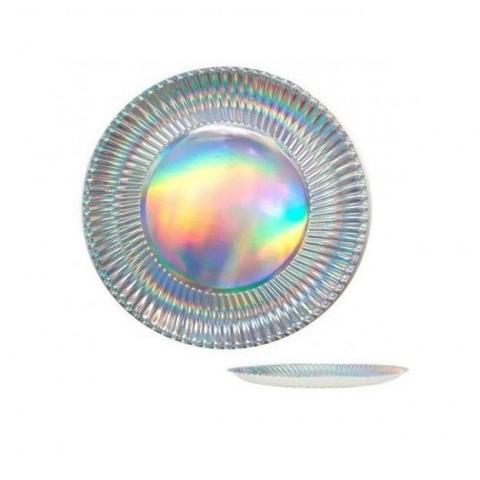 Platos Holograma en plata pequeños 6u.