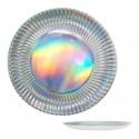 Platos Holograma en plata grande 6u.