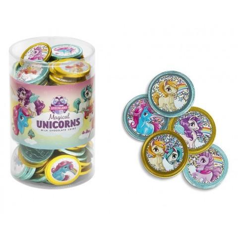 Bote de Monedas de chocolate Unicornio 106u. aprox.