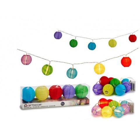 Guirnalda LED 5 Faroles Papel Colores