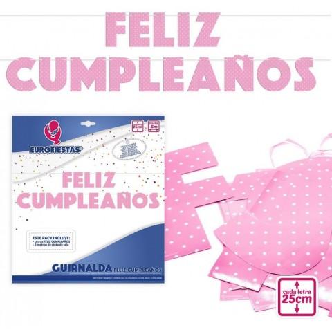 Guirnalda Rosa Feliz Cumpleaños