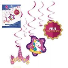 Guirnaldas Espirales con Colgantes Unicornio
