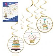 Guirnaldas Espirales con Colgantes Cumpleaños