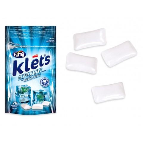Chicles Klet's sin azúcar bolsita sabor menta 39 gramos.