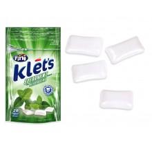 Chicles Klet's Fini sin azúcar bolsita sabor hierbabuena 39 gramos.